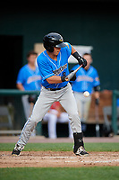 Akron RubberDucks third baseman Sam Haggerty (8) lays down a bunt during a game against the Harrisburg Senators on August 18, 2018 at FNB Field in Harrisburg, Pennsylvania.  Akron defeated Harrisburg 5-1.  (Mike Janes/Four Seam Images)