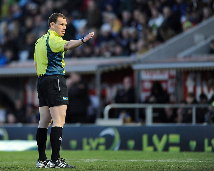 Referee Mr N Hennessey of Wales during the LV= Cup match between Exeter Chiefs and Bath Rugby at Sandy Park Stadium on Sunday 5th February 2012 (Photo by Rob Munro)