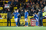 Livingston v St Johnstone…..22.01.20   Toni Macaroni Arena   SPFL<br />Tommy Wright does a triple substitution, Chris Kane, Callum Hendry and Scott Tanser<br />Picture by Graeme Hart.<br />Copyright Perthshire Picture Agency<br />Tel: 01738 623350  Mobile: 07990 594431