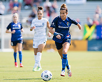 CARY, NC - SEPTEMBER 12: Carson Pickett #4 of the NC Courage dribbles the ball during a game between Portland Thorns FC and North Carolina Courage at WakeMed Soccer Park on September 12, 2021 in Cary, North Carolina.