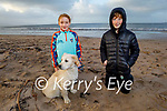 Enjoying a stroll on Derrymore beach on Saturday, L to r: Niamh Murphy, Stephen Enright and Rosie the dog.