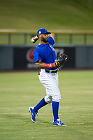 AZL Cubs left fielder Jonathan Sierra (22) warms up in the outfield during the game against the AZL Diamondbacks on August 11, 2017 at Sloan Park in Mesa, Arizona. AZL Cubs defeated the AZL Diamondbacks 7-3. (Zachary Lucy/Four Seam Images)
