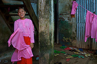 Daily life at a large Buddhist Monastery Yangon, Myanmar