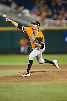 Oklahoma State Cowboys pitcher Trey Cobb (25) delivers a pitch to the plate against the Arizona Wildcats during Game 6 of the NCAA College World Series on June 20, 2016 at TD Ameritrade Park in Omaha, Nebraska. Oklahoma State defeated Arizona 1-0. (Andrew Woolley/Four Seam Images)