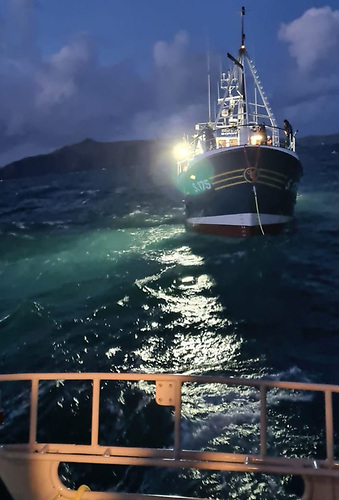 The fishing vessel was taken in tow by Castletownbere RNLI Lifeboat. Conditions on-scene were described as a 2-3 metre swell and with Force 5 south-westerly winds