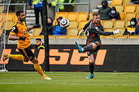 23rd May 2021; Molineux Stadium, Wolverhampton, West Midlands, England; English Premier League Football, Wolverhampton Wanderers versus Manchester United; Dean Henderson of Manchester United clears the ball after a back pass