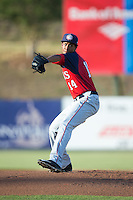 Hagerstown Suns starting pitcher Luis Reyes (14) in action against the Kannapolis Intimidators at CMC-Northeast Stadium on June 16, 2015 in Kannapolis, North Carolina.  The Suns defeated the Intimidators 8-4.  (Brian Westerholt/Four Seam Images)