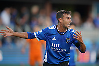 SAN JOSE, CA - JULY 24: Chris Wondolowski #8 of the San Jose Earthquakes reacts during a game between Houston Dynamo and San Jose Earthquakes at PayPal Park on July 24, 2021 in San Jose, California.