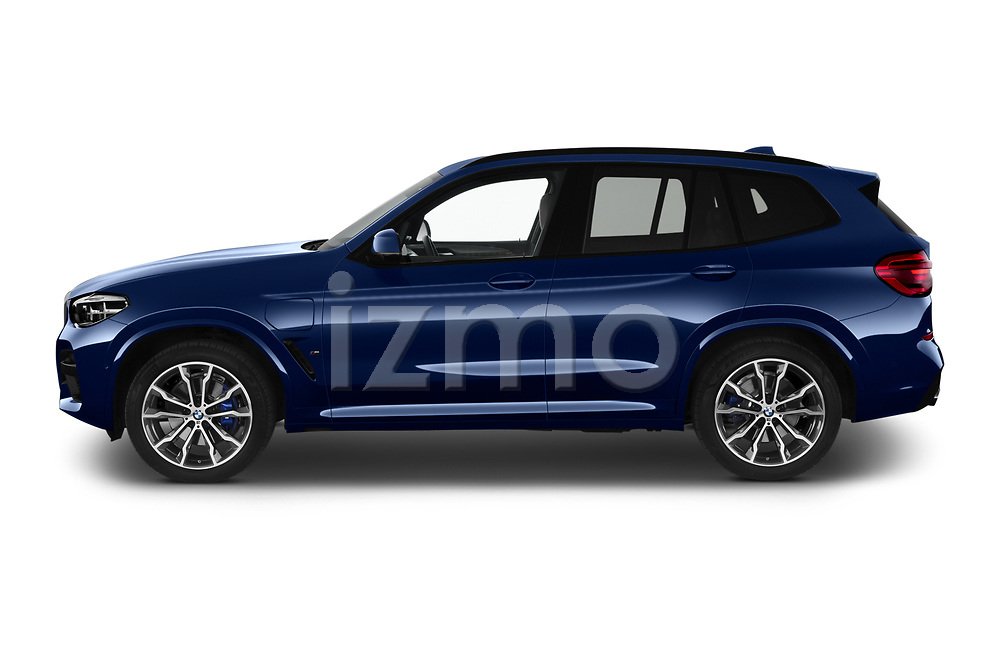 Car Driver side profile view of a 2020 BMW X3 M-Sport 5 Door SUV Side View