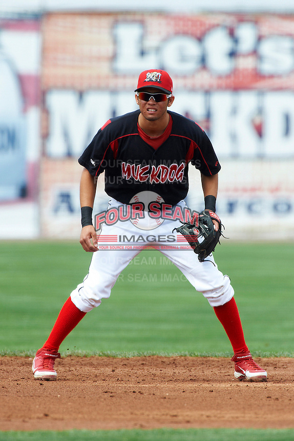 Batavia Muckdogs infielder Breyvic Valera #46 during a NY-Penn League game against the Williamsport Crosscutters at Dwyer Stadium on August 26, 2012 in Batavia, New York.  Batavia defeated Williamsport 7-1.  (Mike Janes/Four Seam Images)