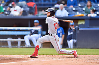 Greenville Drive center fielder Cole Brannen (10) swings at a pitch during a game against the Asheville Tourists at McCormick Field on May 11, 2019 in Asheville, North Carolina. The Drive defeated the Tourists 9-8. (Tony Farlow/Four Seam Images)