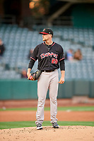 Albuquerque Isotopes starting pitcher Evan Grills (28) during the game against the Salt Lake Bees at Smith's Ballpark on April 24, 2019 in Salt Lake City, Utah. The Isotopes defeated the Bees 5-4. (Stephen Smith/Four Seam Images)