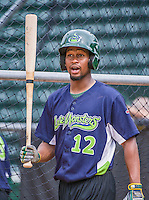 16 June 2014: Vermont Lake Monsters infielder Chris Wolfe awaits his turn in the batting cage prior to a game against the Connecticut Tigers at Centennial Field in Burlington, Vermont. The Lake Monsters fell to the Tigers 3-2 in NY Penn League action. Mandatory Credit: Ed Wolfstein Photo *** RAW Image File Available ****