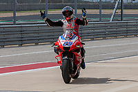 3rd October 2021; Austin, Texas, USA;  Jorge Martin of Spain and Pramac Racing throws up his hands as he enters the pits after just missing the podium during the MotoGP Red Bull Grand Prix of the Americas  at Circuit of The Americas in Austin, Texas.