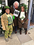 Bob and Claire Humm  and Homer Sykes at The Lucy Bell Gallery, St Leonards-on-Sea exhibition Once a Year. Vintage prints on show May-26 June 2021. Bob and Claire local artist came  to open the show dressed in May Day greenery. They are local artists, check out their Hummbug website. <br /> Photo copyright Leo Mason.
