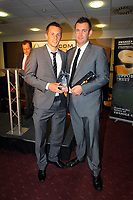 Pictured L-R: Gylfi Sigurdsson receiving the Goal of The Season Award by Blue Bell Neath Hotel owner. Thursday 10 May 2012<br />