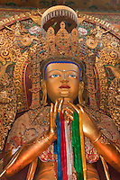 Bodhnath, Nepal.  Buddha, inside the Tsamchen Gompa (Monastery).  The hands make the gesture of turning the wheel of dharma, or law, the Buddha's teachings.