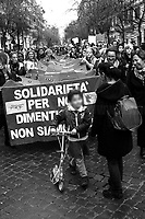 """Rome, 08/03/2019. Today, """"NonUnaDiMeno"""" (Not One Woman Less) held the """"transfeminist global strike"""" (8 Marzo Sciopero Globale Transfemminista #NoiScioperiamo) in Central Rome. The massive demonstration saw tens of thousands of people 50,000+ for the organisers) marching peacefully (and loudly from Piazza Vittorio Emanuele II to the Fori Imperiali. The Protest - which marked the International Women's Day 2019 - was organised contemporary in several squares across Italy (and in more than 70 Countries across the world) and held while Italy was hit by a Workers' Strike. The aim of the demo was to be in support and solidarity with all the women, against the Pillon Law (DDL N. 735 made by League/Lega Senator Simone Pillon, https://bit.ly/2z4zD4g) about families and all the policies of the FiveStar-League (Movimento 5 Stelle – Lega) coalition Government, labelled as """"patriarchal, authoritarian and racist, a proper war against women, migrants and lgbt*qia+"""", demanding the end to male and gender-based violence against women and the feminicides, fighting for the living wage for all women, supporting abortion's rights (via protecting the Legge 194 – Law 194 - Source Wikipedia.org - https://bit.ly/2TEbdKp) and self-determination, and to end all forms of gender discrimination and against women.<br /> <br /> For more info please click here: https://bit.ly/2u0fAkG & https://nonunadimeno.wordpress.com/<br /> <br /> For a video of the event by la Repubblica.it on Facebook click here: https://bit.ly/2EZ3wGK<br /> <br /> For the previous demos I covered related to the same topic in Italy please click here: https://bit.ly/2FEtKiF & http://bit.ly/2FGiLp5 & http://bit.ly/2p1vwjS & https://bit.ly/2INyfKm & https://bit.ly/2uZm4Ul & https://bit.ly/2FGsnRZ & https://bit.ly/2Ham60Q"""