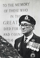1977 FILE PHOTO - ARCHIVES -<br /> <br /> Veteran Jim Cameron stands at attention at cenotaph Friday during Remembrance Day services in Toronto. Two world wars claimed 112,653 Canadian lives.<br /> <br /> <br /> Bezant, Graham<br /> Picture, 1977, <br /> <br /> 1977<br /> <br /> PHOTO : Graham Bezant - Toronto Star Archives - AQP
