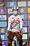 Oliver Naesen (BEL) AG2R Citroen Team at sign on before the start of the 76th edition of Omloop Het Nieuwsblad 2021 running 200km from Gent to Ninove, Belgium. 27th February 2021  <br /> Picture: Serge Waldbillig | Cyclefile<br /> <br /> All photos usage must carry mandatory copyright credit (© Cyclefile | Serge Waldbillig)