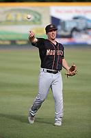Matt Sanders (4) of the Modesto Nuts throws before a game against the Visalia Rawhide at Recreation Ballpark on June 10, 2019 in Visalia, California. (Larry Goren/Four Seam Images)