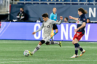 FOXBOROUGH, MA - NOVEMBER 20: Bojan #9 of Montreal Impact passes the ball during the Audi 2020 MLS Cup Playoffs, Eastern Conference Play-In Round game between Montreal Impact and New England Revolution at Gillette Stadium on November 20, 2020 in Foxborough, Massachusetts.