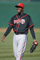 Markus Brisker #30 of the Lansing Lugnuts prior to the start of the game versus the South Bend Silver Hawks at Coveleski Stadium April 15, 2009 in South Bend, Indiana. (Photo by Brian Westerholt / Four Seam Images)