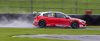 23rd August 2020; Oulton Park Circuit, Little Budworth, Cheshire, England; Kwik Fit British Touring Car Championship, Oulton Park, Race Day;  Rory Butcher Motorbase Performance driving a Ford Focus ST with water blowing up behind in the wet conditions