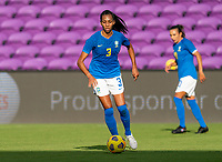 ORLANDO, FL - FEBRUARY 24: Bruna #3 of Brazil dribbles during a game between Brazil and Canada at Exploria Stadium on February 24, 2021 in Orlando, Florida.