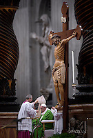 Pope Francis leads a mass for the Jubilee of Inmates,  at St Peter's basilica in Vatican.on November 6, 2016:<br /> Crucifix of the wooden of the XIV. restoration realized during the year of Mercy in the sacristy at the St. Peter's Basilica at the Vatican.