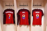 Gothenburg, Sweden - Thursday June 08, 2017: Meghan Klingenberg, Julie Ertz, Lindsey Horan, US locker room  prior to an international friendly match between the women's national teams of Sweden (SWE) and the United States (USA) at Gamla Ullevi Stadium.