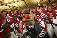 1 December 2007: The Stanford players with the Axe after Stanford's 20-13 win over California in the 110th Big Game at Stanford Stadium in Stanford, CA. Stanford leads the rivalry series over California, 55-44-11. Pictured are Austin Gunder, Nicolas Ruhl, Chijoke Amajoyi, Pat Maynor, Richard Sherman, Wopamo Osaisai, Chris Hobbs, Gustav Rydstedt, Thaddeus Chase Jr., Tyler Porras, and Jerome Jackson.