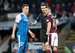 St Johnstone v Hearts…23.12.17…  McDiarmid Park…  SPFL<br />Referee Kevin Clancy has words with Liam Craig and David Milinkovic<br />Picture by Graeme Hart. <br />Copyright Perthshire Picture Agency<br />Tel: 01738 623350  Mobile: 07990 594431
