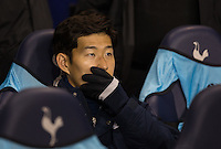 Son Heung-Min of Tottenham Hotspur covers his mouth on the bench during the UEFA Europa League Group J match between Tottenham Hotspur and R.S.C. Anderlecht at White Hart Lane, London, England on 5 November 2015. Photo by Andy Rowland.