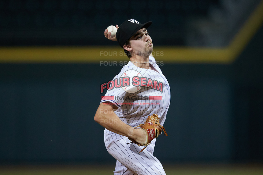 Winston-Salem Dash starting pitcher Dan Metzdorf (15) in action against the Bowling Green Hot Rods at Truist Stadium on September 7, 2021 in Winston-Salem, North Carolina. (Brian Westerholt/Four Seam Images)