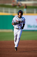 Lansing Lugnuts Gabriel Moreno (23) rounds the bases after a home run by Griffin Conine (not shown) during a Midwest League game against the Burlington Bees on July 18, 2019 at Cooley Law School Stadium in Lansing, Michigan.  Lansing defeated Burlington 5-4.  (Mike Janes/Four Seam Images)