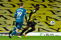 26th December 2020; Vicarage Road, Watford, Hertfordshire, England; English Football League Championship Football, Watford versus Norwich City; Ismaila Sarr of Watford under pressure from Jacob Lungi Sorensen of Norwich City