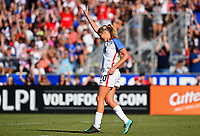 Cary, NC - Sunday October 22, 2017: Allie Long celebrates a goal during an International friendly match between the Women's National teams of the United States (USA) and South Korea (KOR) at Sahlen's Stadium at WakeMed Soccer Park.