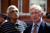 Tariq Ali & Craig Murray.<br /> <br /> London, 19/08/2012. Today, Julian Assange made his first speech after two months (19th June 2012) he has been living as a refugee in the Ecuadorian Embassy in London. On Thursday he was granted Diplomatic Asylum by the President of Ecuador, Rafael Correa. Previously, Baltasar Garzón (former Spanish Judge, now head of Assange legal team), Tariq Ali, Craig Murrey and others had made speeches in support and solidarity with the Australian Journalist founder of Wikileaks.