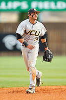 Virginia Commonwealth Rams shortstop Vimael Machin (25) on defense against the Charlotte 49ers at Robert and Mariam Hayes Stadium on March 30, 2013 in Charlotte, North Carolina.  The Rams defeated the 49ers 4-3 in game two of a double-header.  (Brian Westerholt/Four Seam Images)