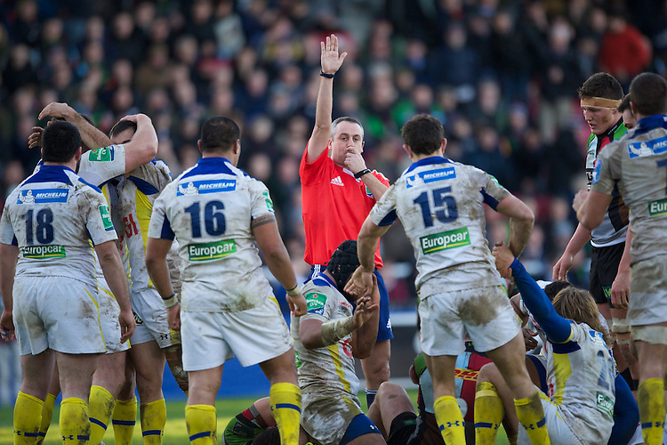 Referee John Lacey blows his whistle at the end of the Heineken Cup Round 5 match between Harlequins and ASM Clermont Auvergne at the Twickenham Stoop on Saturday 11th January 2014 (Photo by Rob Munro)
