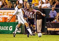 LA Galaxy defender Omar Gonzalez defending aganst Chivas USA forward Maicon Santos. The LA Galaxy defeated Chivas USA 1-0 to win the final edition of the 2009 SuperClásico at Home Depot Center stadium in Carson, California on Saturday, August 29, 2009...