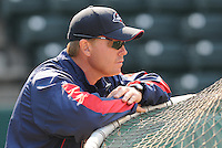 April 8, 2009: Manager Kevin Boles of the Greenville Drive, Class A affiliate of the Boston Red Sox, during Media Day at Fluor Field at the West End in Greenville, S.C. Boles was named 2010 manager of the Salem Red Sox on Dec. 22, 2009. Photo by:  Tom Priddy/Four Seam Images