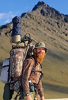 Red returns from successful dall sheep hunt in the Brooks Range, Alaska