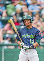 9 July 2015: Vermont Lake Monsters infielder Richie Martin at bat during a game against the Mahoning Valley Scrappers at Centennial Field in Burlington, Vermont. The Lake Monsters rallied to tie the game 4-4 in the bottom of the 9th, but fell to the Scrappers 8-4 in 12 innings of NY Penn League play. Mandatory Credit: Ed Wolfstein Photo *** RAW Image File Available ****