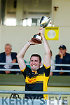 Mike Milner Captain, Dr. Crokes raises the cup after the Kerry County Intermediate Hurling Championship Final match between Dr Crokes and Tralee Parnell's at Austin Stack Park in Tralee