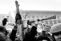 """- manifestation of the leftist groups """"Lotta Continua"""" and """"Movimento Studentesco"""" (Milan, december 1976)....- manifestazione dei gruppi di sinistra Lotta Continua e Movimento Studentesco (Milano, dicembre 1976)"""