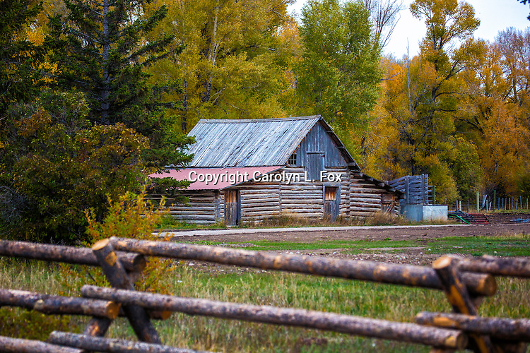 A cabin sits in front of beautiful Fall trees. There is a wooden fence in the foreground adding to the Americana feel.