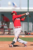 Yorman Rodriguez #77 of the Cincinnati Reds bats during a Minor League Spring Training Game against the Cleveland Indians at the Cincinnati Reds Spring Training Complex on March 25, 2014 in Goodyear, Arizona. (Larry Goren/Four Seam Images)