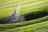26.09.2014. Gleneagles, Auchterarder, Perthshire, Scotland.  The Ryder Cup.  Keegan Bradley [USA] hits out of the bunker during the Friday Fourballs.